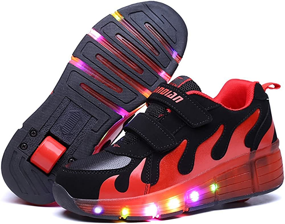 pit4tk LED Light Up Skate Shoes Sneakers Shoes with Wheels Girls Boys Roller for Kids Christmas
