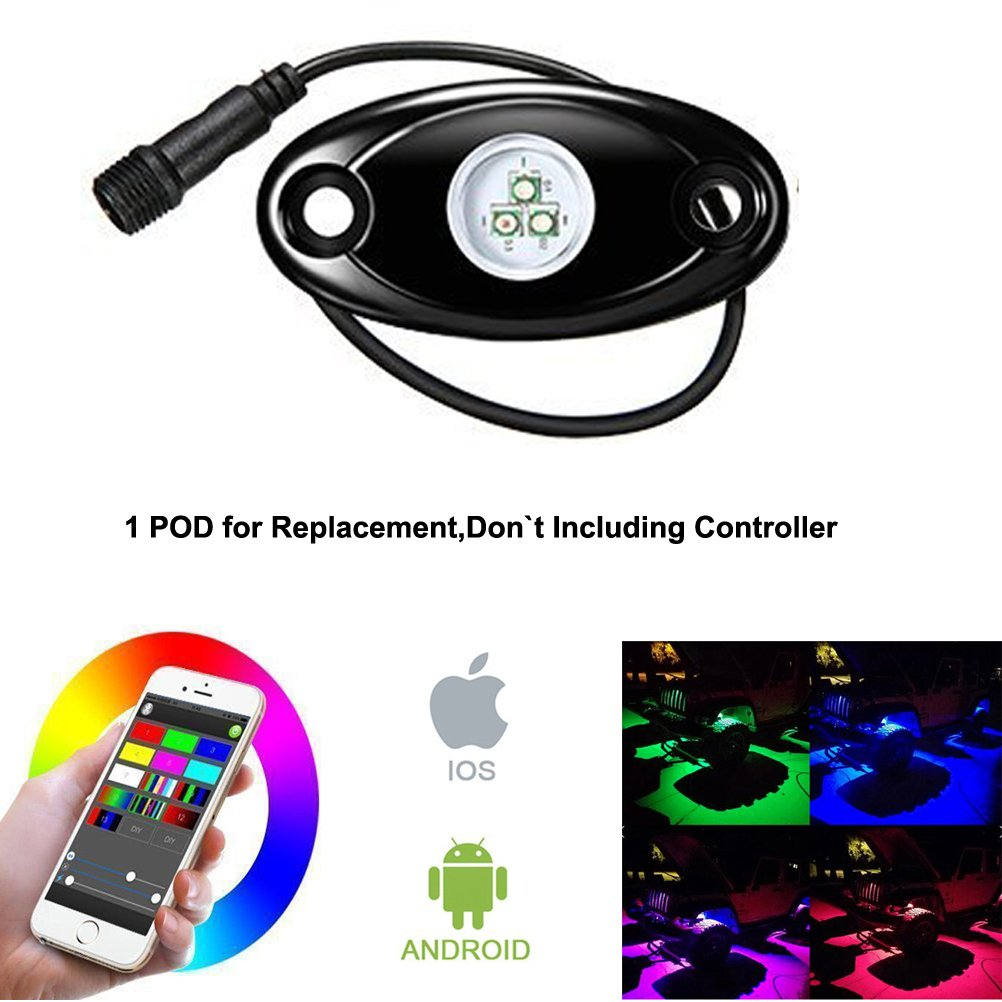 1 Pod for Replacement Rgb Led Rock Lights Kits with Bluetooth Control Waterproof Neon Lights for Cars Jeep Off Road Truck SUV ATV 1 Pod for Replacement