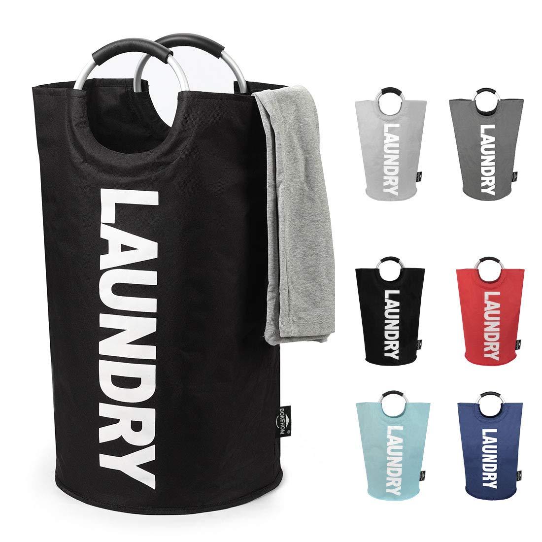 DOKEHOM DKA0001BK2 Large Laundry Basket (6 Colors, L and XL), Collapsible Fabric Laundry Hamper, Foldable Clothes Bag, Folding Washing Bin (Black, L)