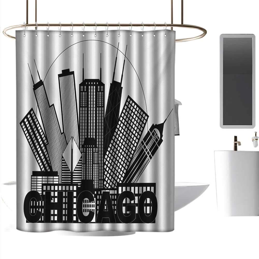 Perfectble Shower Curtain Liner Chicago Skyline,Circle City Landscape Office Buildings North American Memories Print,Black and White Rust-Resistant Grommet Holes W72 x L84 Inch