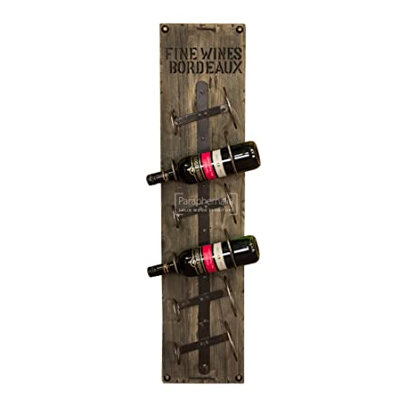 Rustic Reclaimed Wood Wall Mounted Wine Rack 6 Bottle Holder