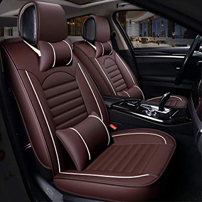 FREESOO Car Seat Cover Cushions PU Leather, Front Rear Full Set Car Seat Covers for 5 Seats Vehicle Suitable for Year Round Use: Automotive