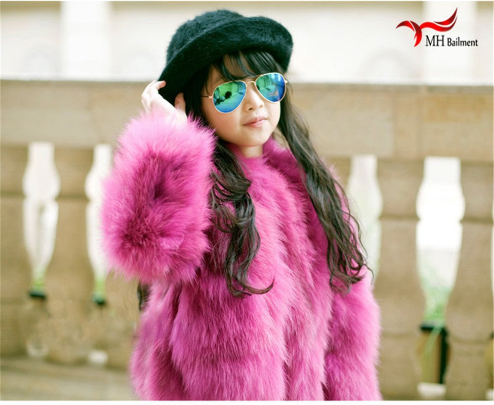 QMFUR New Girls 100% Real Sliver Fox Fur Coat Jacket (8-9 Years Old, Red) by qmfur (Image #6)
