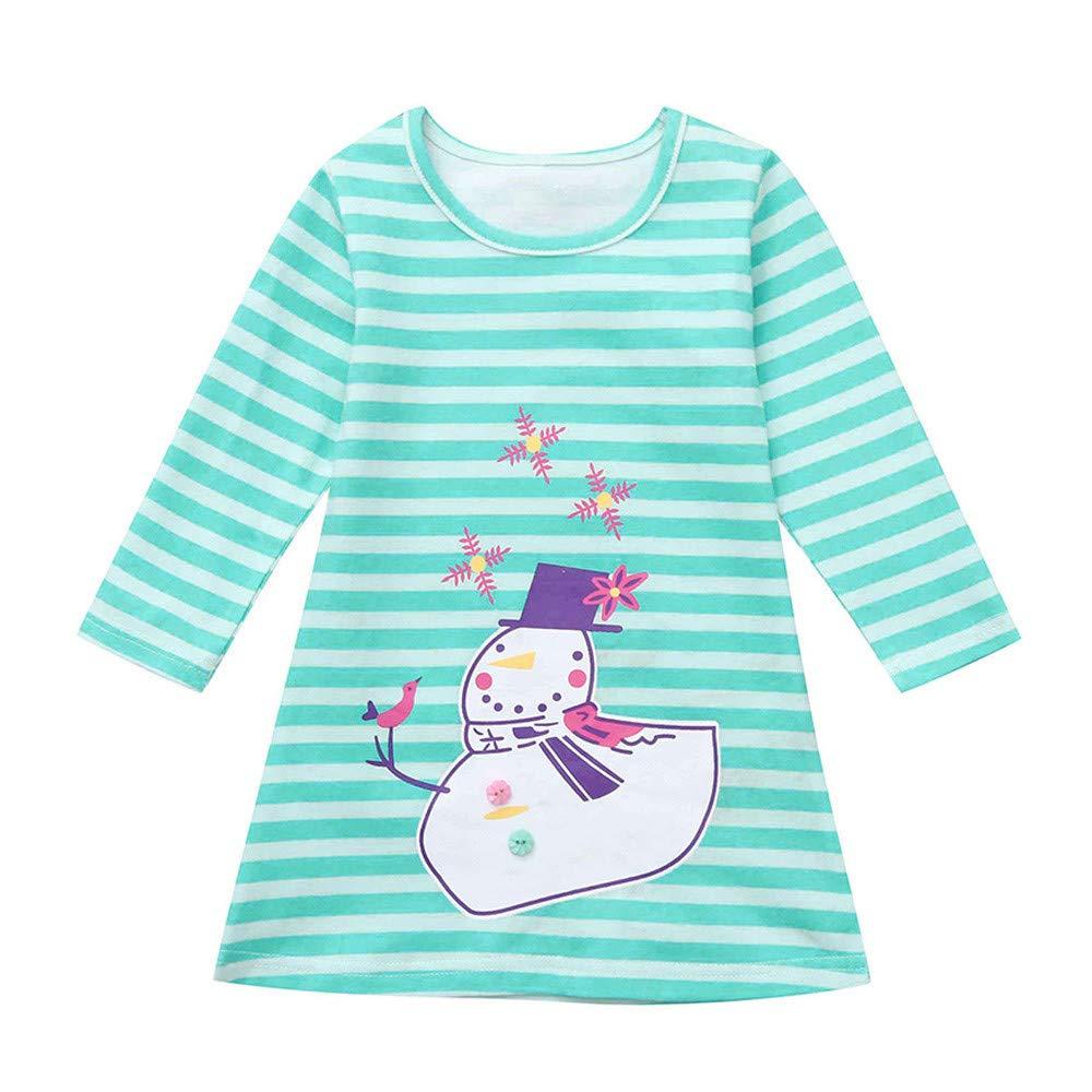 XXYsm Kleid Weihnachten M/ädchen Baby Festlich Langarm Santa Drucken Gestreift Blusenkleid Prinzessin Partykleid Xmas Kleider
