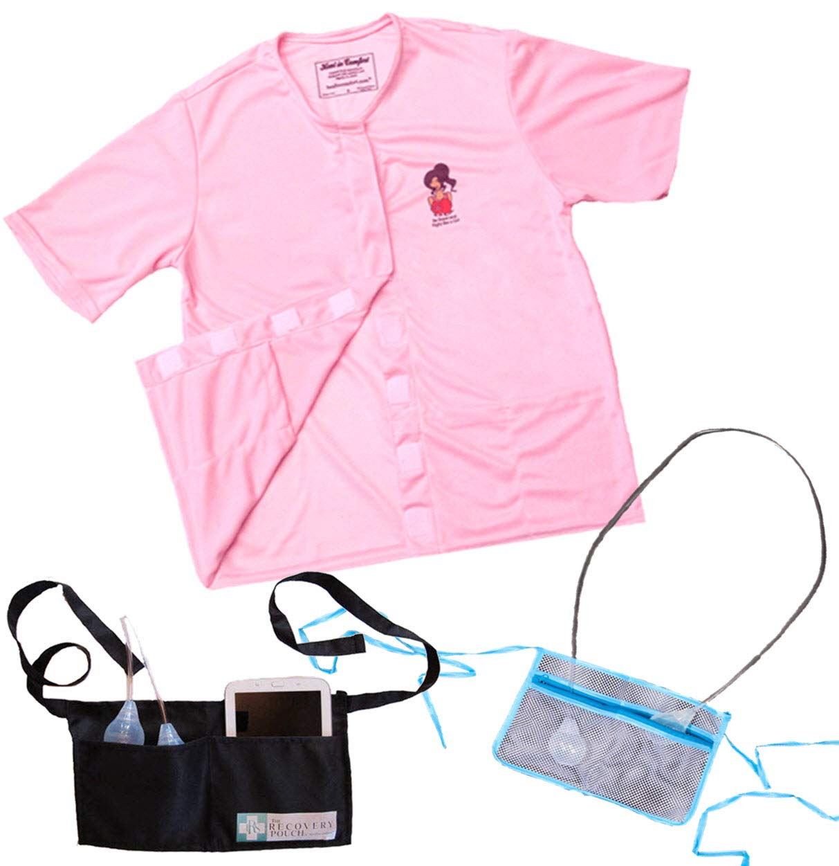 Heal in Comfort Mastectomy Shirt with Drain Pockets & Post Surgical Drain Holder- Size Large Pink
