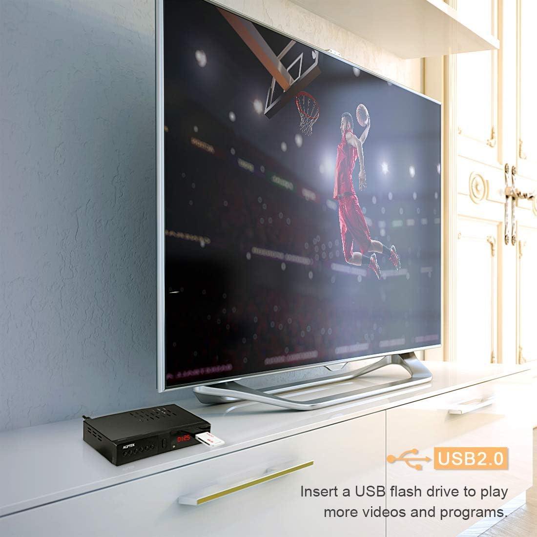 Sintonizador TDT HD 1080P DVB-T2, AGPTEK HD Receptor Televisión ...