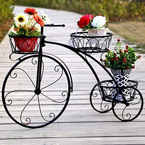 (JFFFFWI Flower Stand Retro Bicycle, Bathroom Shelf Garden Plant Stand Metal Flower Cart Rack Display,Wrought Iron Multi-Layer Indoor and Outdoor Floor-Standing Bicycle Flower Racks)