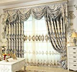 FADFAY Custom Made European Luxury Curtains Jacquard Blackout Lining Drapes With Beaded Valance Treatment 2 Panels Review