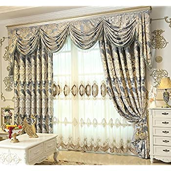 Captivating FADFAY Custom Made European Luxury Curtains Jacquard Blackout Lining Drapes  With Beaded Valance Treatment 2 Panels