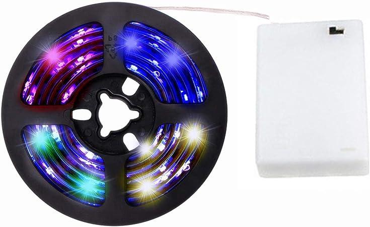 cuzile tira luz LED Color Blanco 100 cm 33 in. + Batería Caja + interruptor, funciona con pilas, multicolor: Amazon.es: Hogar
