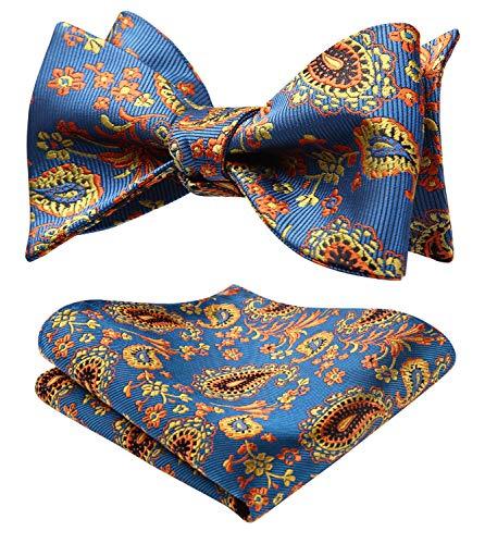 Blue Self Tie - SetSense Men's Paisley Jacquard Woven Self Bow Tie Set One Size Blue/Orange