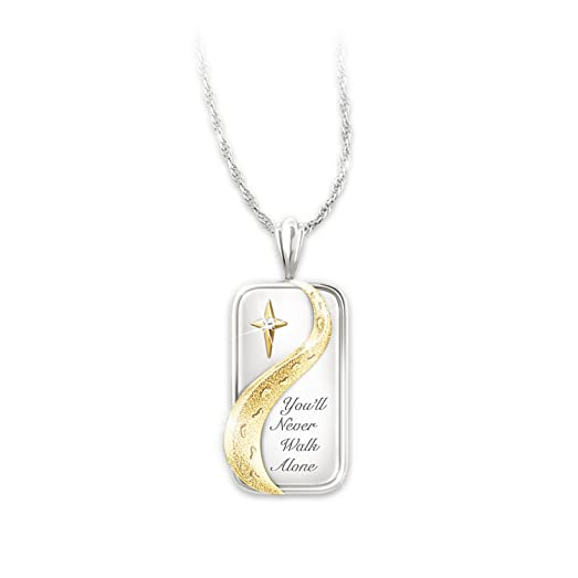 The Bradford Exchange 'Footprints in the Sand' - Pendant - Sterling Silver with Gold Plating and a Genuine Diamond PNFgRq