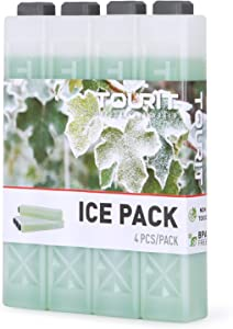 TOURIT Reusable Ice Packs for Coolers Long Lasting Freezer Packs for Lunch Bags/Boxes, Cooler Backpack, Camping, Beach, Picnics, Fishing and More (Set of 4, Green)