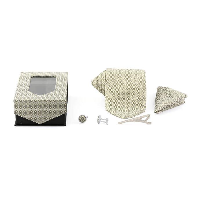 Formal 3 15 Inch Gold Print Designer Tie, Pocket Square