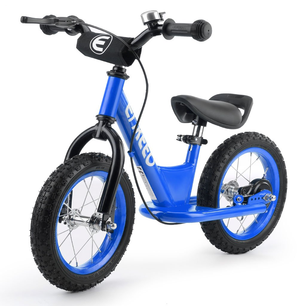 ENKEEO 14 Inch Sport Balance Bike No Pedal Control Walking Bicycle Transitional Cycling Training with Rubber Tires, Adjustable Seat and Upholstered Handlebars for Kids Toddlers (Blue)