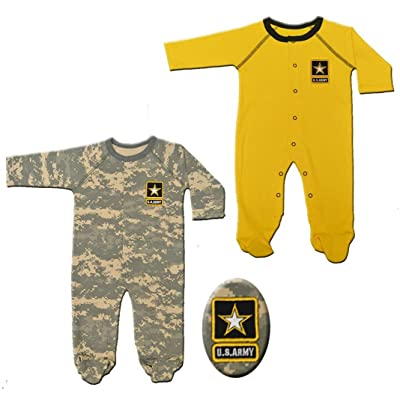 2pk Baby Infant Acu Army Crawlers Sleepers Gold & Camo Set (9-12 Months)