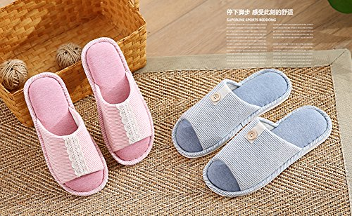Vwu Unisex Dames Heren Lover Couple Slide Slippers Non Skid Stripes Kanten Knop Katoen Indoor Huis Slippers Button Marine Blauw