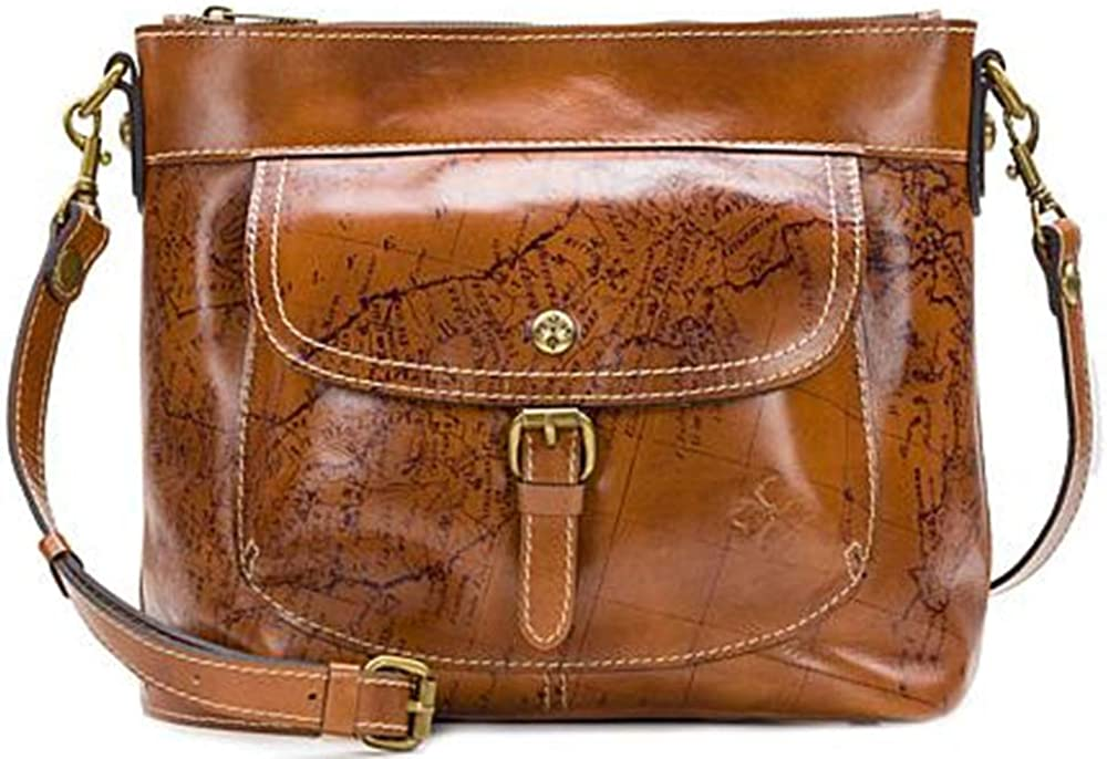 Patricia Nash Tuscania Leather Shoulder Bag Cross Body Purse Cognac Map Print