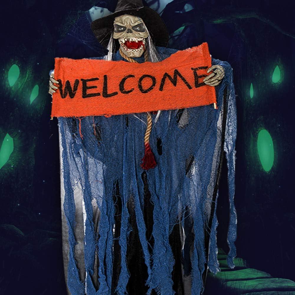 Orange Beenle-Icey Halloween Deko Zombie H/ängender Geist H/ängender Horror Deko Horror Skelett mit Sound Gl/ühenden Roten Augen