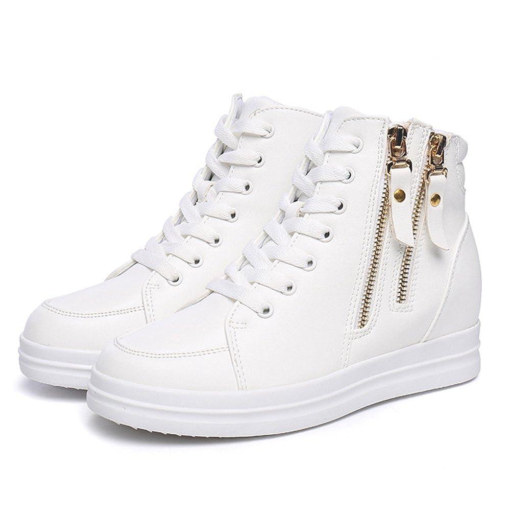 U-MAC High Top Wedge Sneakers for Women's - Hidden Anti-Slip Rubber Sole Hidden - Heel Round Toe Platform Casual Shoes B078WVPBNV 7 B(M) US|White 2 66d0e1