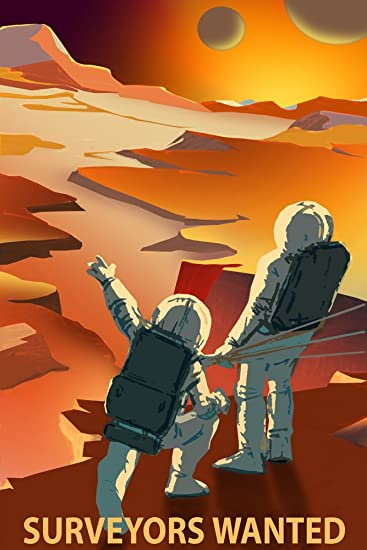 Astronaut Surveyors Wanted Mars NASA Spaceship Travel Sci Fi Vintage Poster Repro 16quot