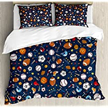 Ambesonne Sport Duvet Cover Set Queen Size, Many Basketball Baseball and Football Icons Champ Gloves Dark Background, Decorative 3 Piece Bedding Set with 2 Pillow Shams, Dark Blue Multicolor