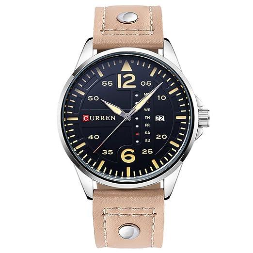 Relojes de pulsera impermeables de los hombres negros del dial con la correa de cuero marrón