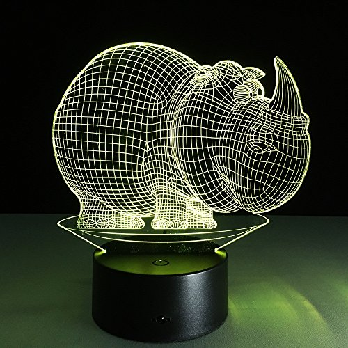 JSTMYYXGS 3D Night Light, Rhino 3D Acrylic Table Lamp Bedroom Bedside Lamp LED Night Light Creative Gift Lighting, (Size : with Music Player) by JSTMYYXGS (Image #8)
