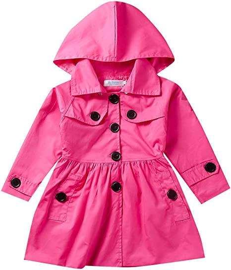 Amaone Toddler Baby Girls Windproof Long Sleeve Trench Coat Princess Autumn Windbreaker Jacket Outwear for 2-7 Years