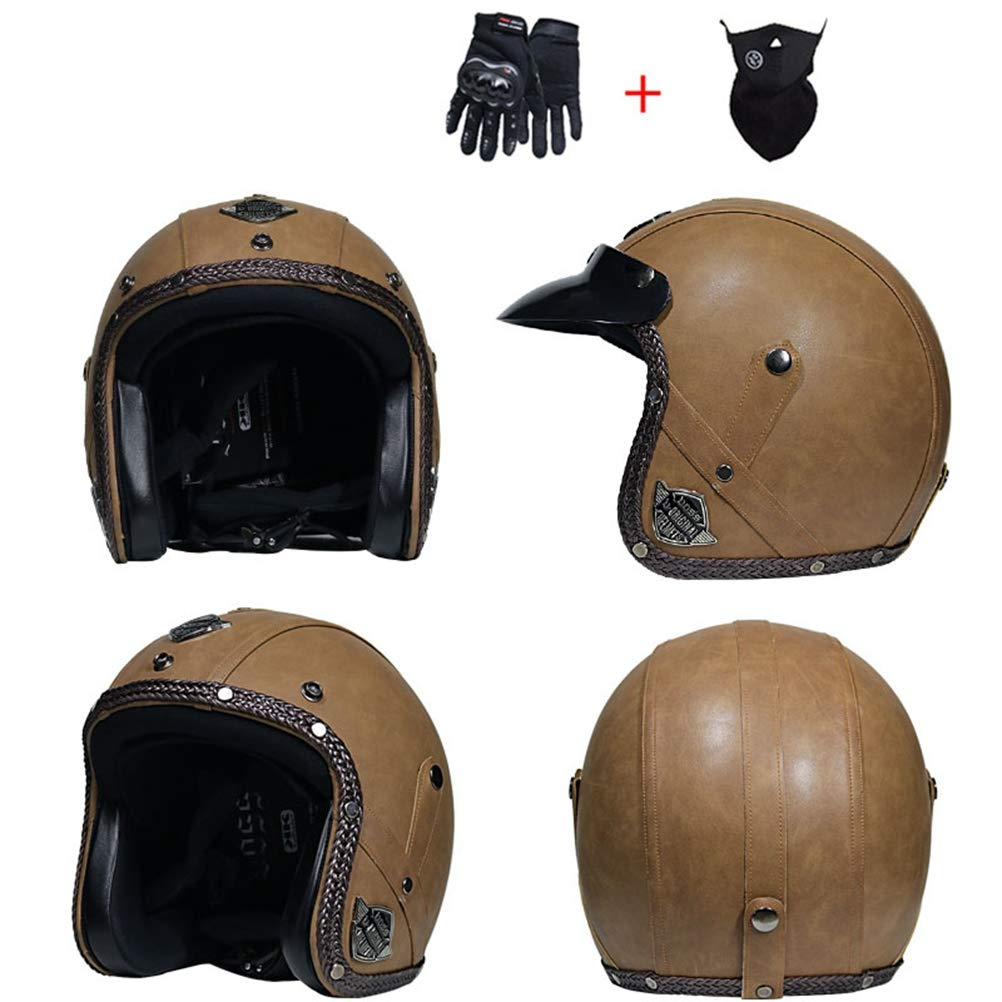 Adult Leather Retro Harley Motorcycle Helmet Lightweight Comfort Men Women Universal Electric Motorbike Safety Caps Seasons Universal Open Face Helmet