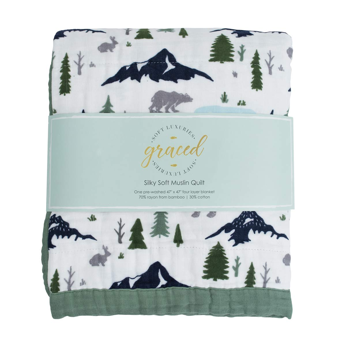 """GRACED SOFT LUXURIES Softest Large 4-Layer Bamboo Muslin Quilt, 47"""" x 47"""" Bamboo + Cotton Blanket, Bear's Forest"""