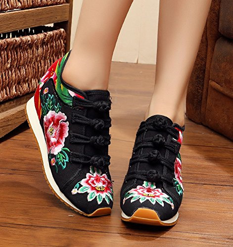 Black Walking Casual Wedge Peony Shoes Travel Embroidery AvaCostume Womens qwvxF8qT