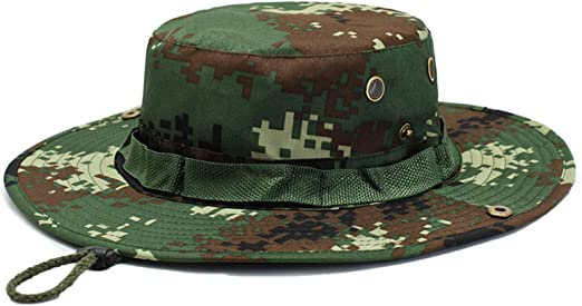 CAMOUFLAGE BUCKET BOONIE MESH HAT:GREEN//BLACK UNISEX-JUNGLE-FISHING-HUNTING-SUN
