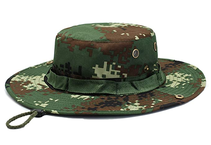 24443c941 Flygo Jungle Camo Boonie Hat Snap Fishing Sun Hat Wide Brim Outdoor ...