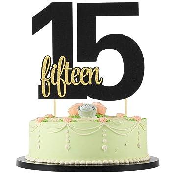 LVEUD Decoración para Tarta de 15 cumpleaños, número 15 ...