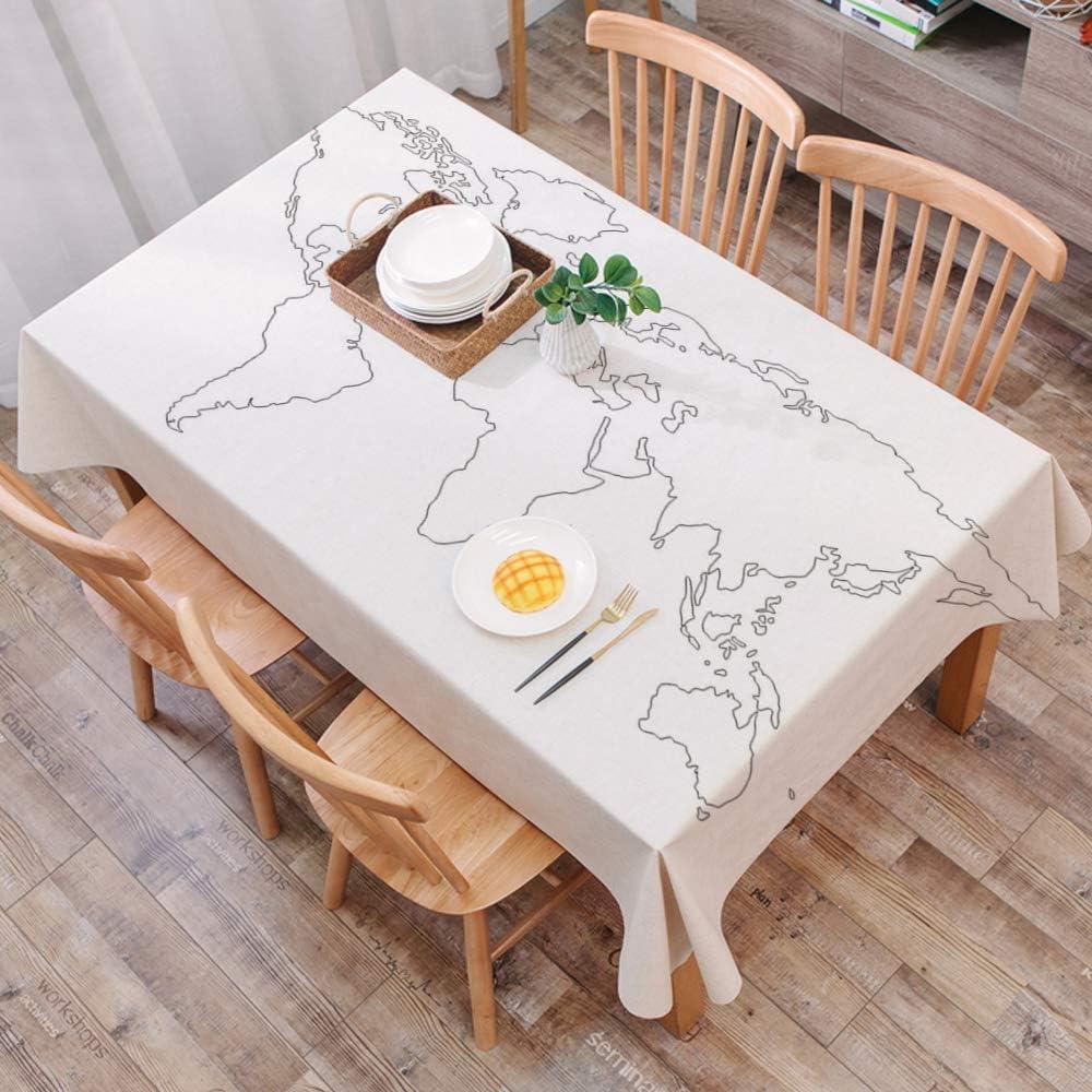 Moderno Mantel Antimanchas Rectangular Mantel Lavable,Mapa, diseño ...