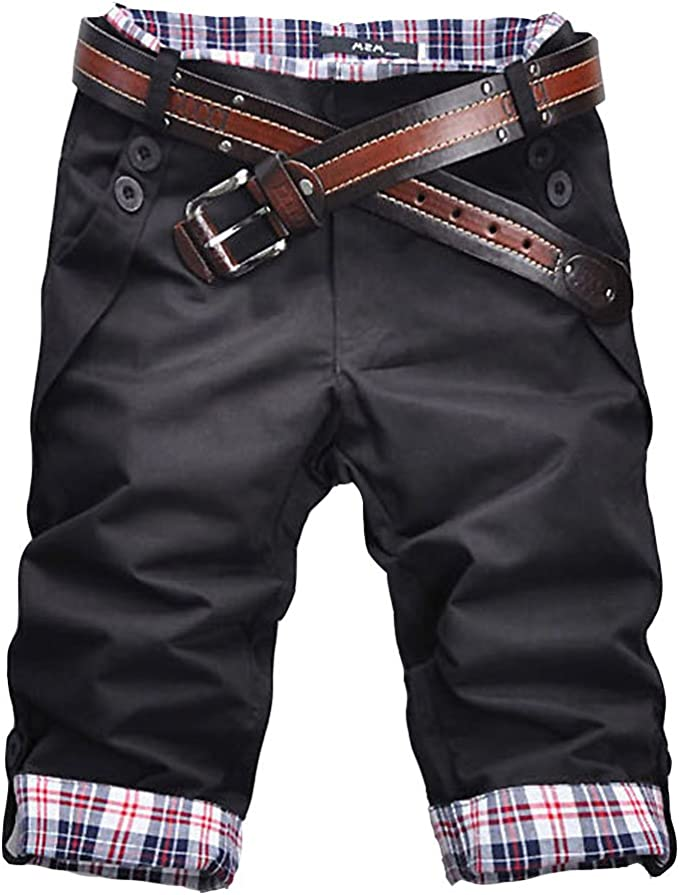 ROBO Short Homme Slim Fit Casual Bermuda Chino Pantalon Court Carreaux sans Ceinture