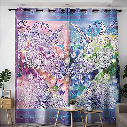 VIVIDX Home Curtains,Unicorn Two Myhtical Horses Facing Each Other Floral Ornament Framework Birds Spring Nature,Room Darkening, Noise Reducing,W120x72L,Multicolor