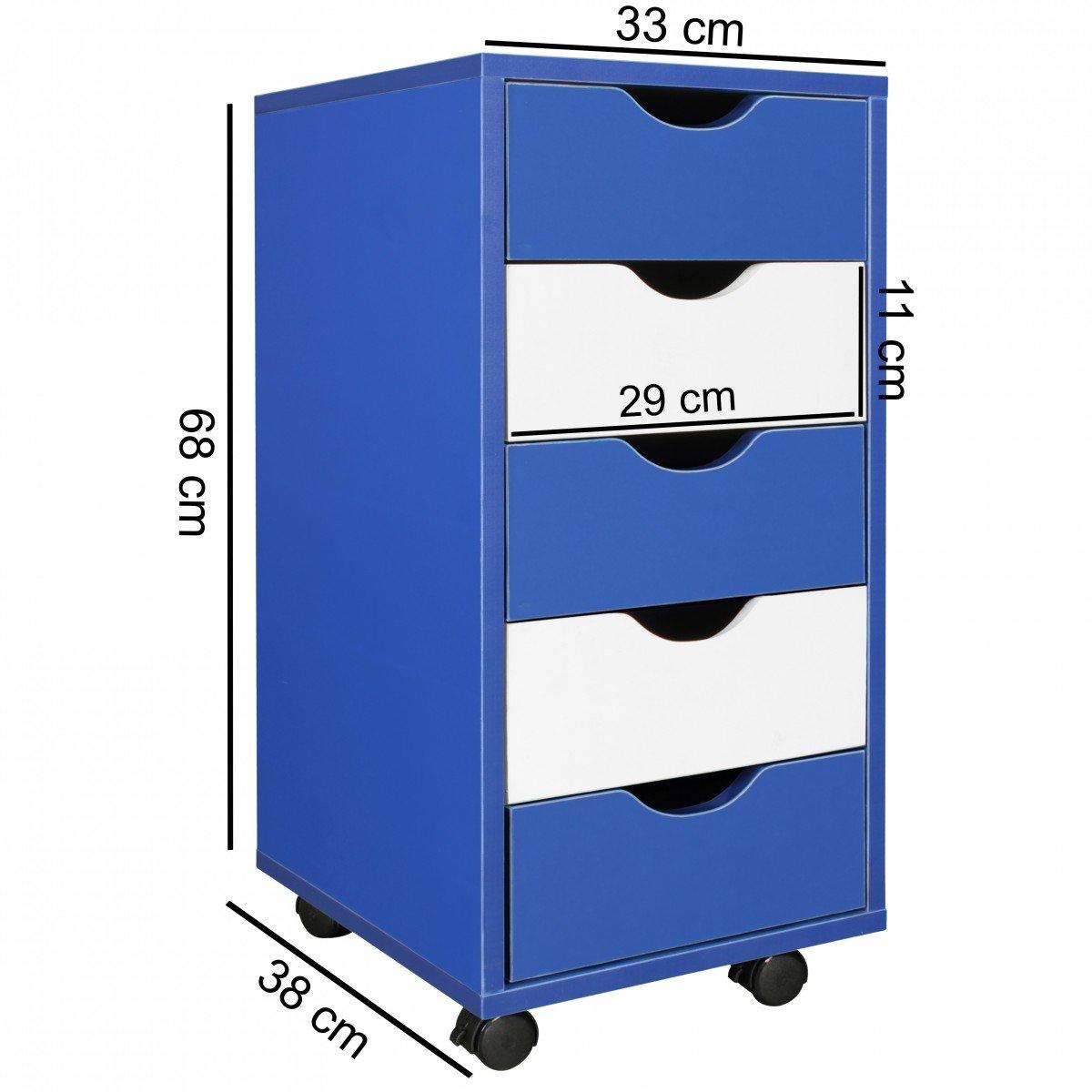 Moderner Schubladencontainer mit Rollen Standcontainer B/ürocontainer FineBuy Kinder Rollcontainer COOL 33 x 68 x 38 cm MDF-Holz 5 Schubladen Blau Wei/ß