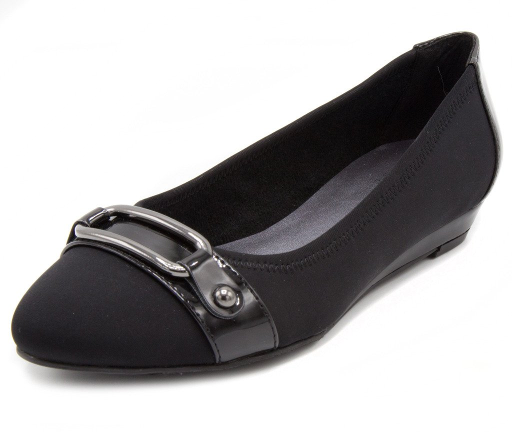 London Fog Womens Chelsea Demi-Wedge Dress Shoe Black 6.5
