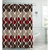 Creative Home Ideas Clarisse Faux Linen Textured 70 x 72 in. Shower Curtain with 12 Metal Rings, Espresso