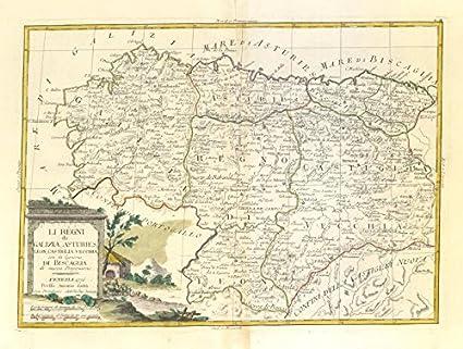 Map Of Spain Leon.Amazon Com Li Regni Di Galizia Asturies Leon Nw Spain