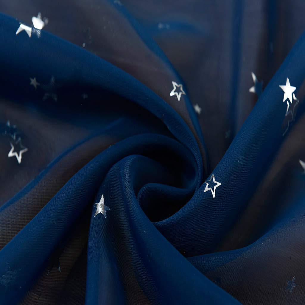 XLGX Rideaux /étoiles Estampage /à Chaud Rideaux Contour /étoiles Rideaux Salon D/écoration D/écoration Chambre Enfants D/écoration Rideaux de Tulle 100x200cm Marin