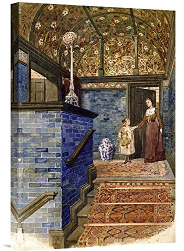 Global Gallery Budget GCS-267890-22-142 T. Hamilton Crawford Staircase Hall with William De Morgan Tiles Gallery Wrap Giclee on Canvas Wall Art Print