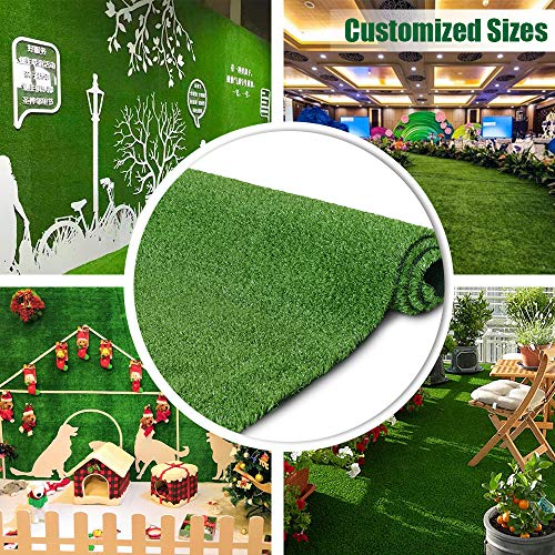 Synthetic Artificial Grass Turf 11FTX11FT Indoor Outdoor Balcony Garden Decor, Drainage Holes Faux Grass Rug Carpet for Pets
