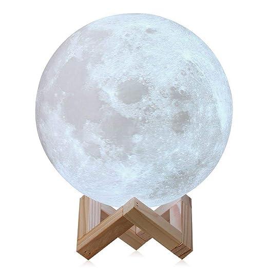 Soriace 3d Lune Lampe Rechargeable Interrupteur Tactile Lumiere De