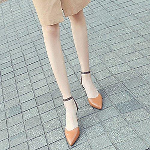 Alto Sra Matching Banquet Brown Tacón Kitten De Cuero Baotou De Color Zapatos Elegant Heels Sandalias De Punta Mujer xTqEYBc8wE