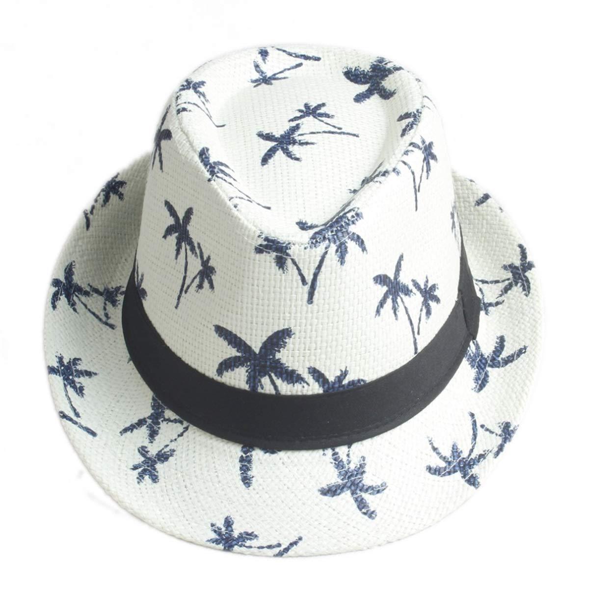 KSDJSA Men Women Sun Hat Beach Cap Fedora Trilby Gangster Cap Beach Sun Straw Pa