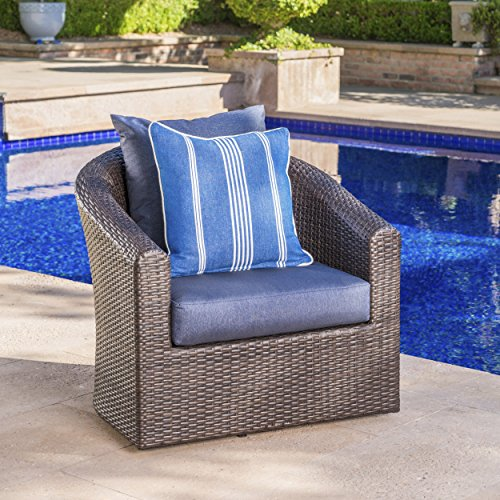 Dillard Outdoor Aluminum Framed Mix Brown Wicker Swivel Club Chair with Water Resistant Cushions (Single, Navy Blue)