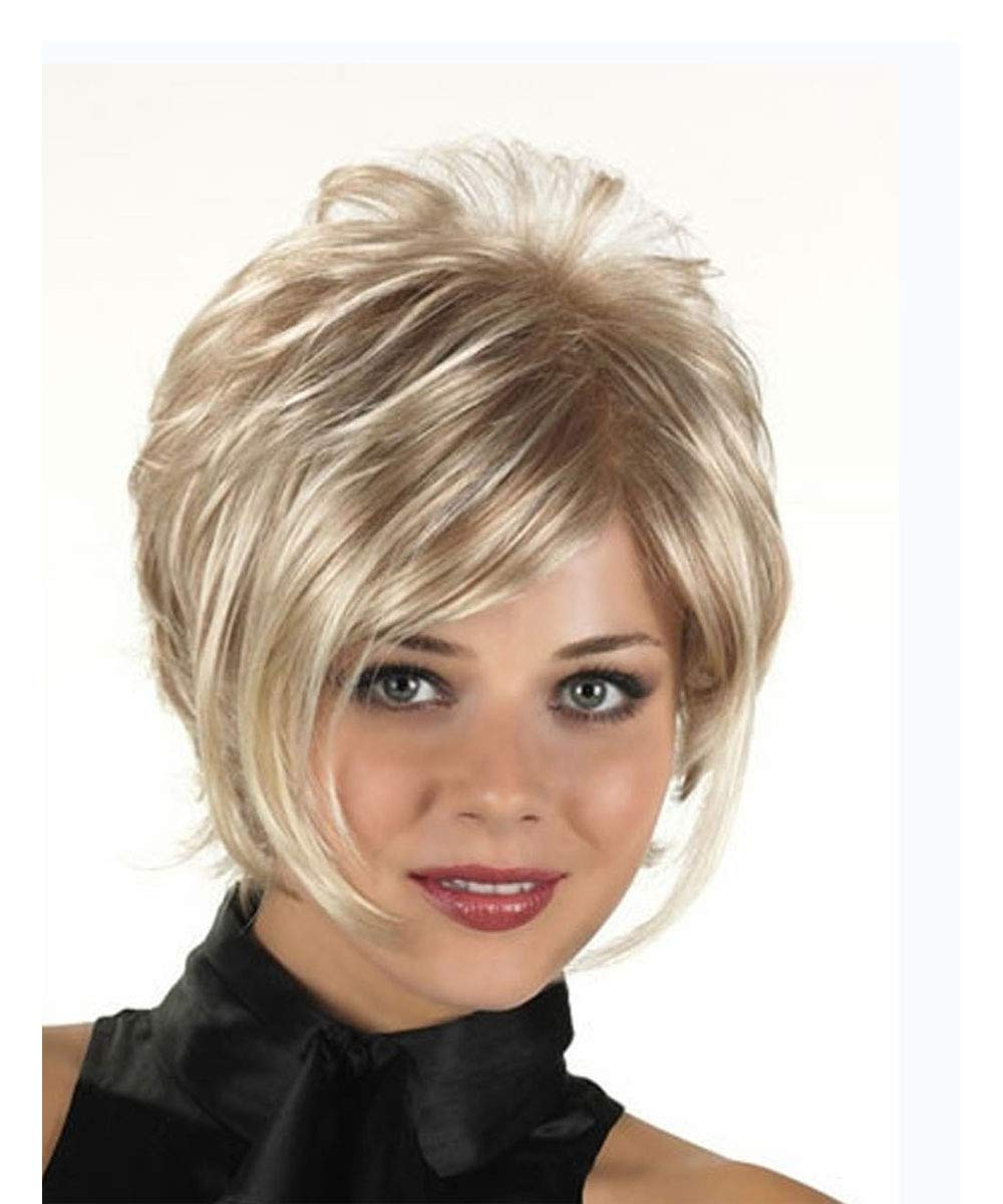 MILISI Blonde Short Hair Wigs for Women Slightly Curly Heat Resistant Synthetic Full Wig With Side Bangs + Wig Cap ALS